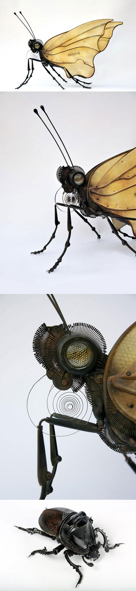Best Steampunk Mechanization And Metal Sculpture Images On - Salvaged scrap metal transformed to create graceful kinetic steampunk sculptures