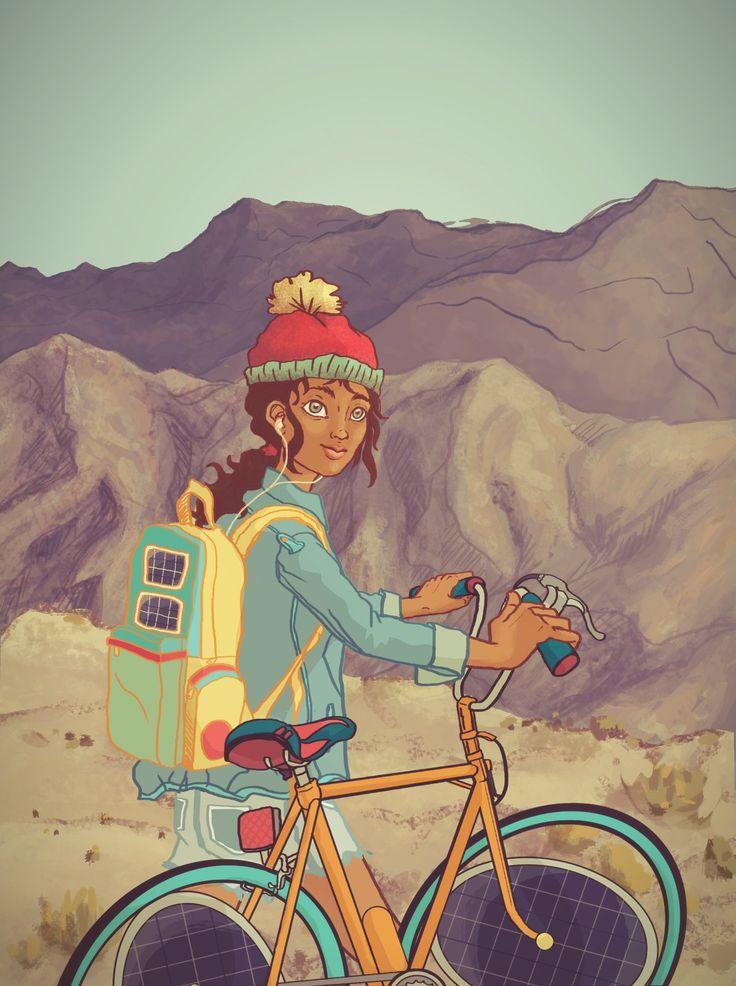 Chica en Bici, Camila Sánchez on ArtStation at https://www.artstation.com/artwork/chica-en-bici
