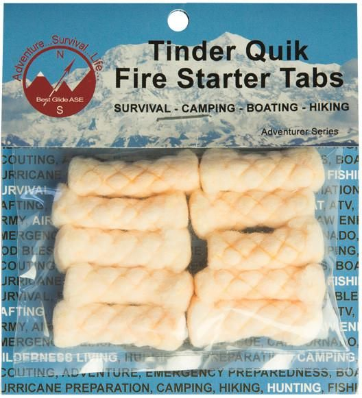 Tinder Quik Fire Tabs (10 per pack) are made of cotton and are great fire starters that aid in lighting larger fuel (wood), thus making recreational and surviva