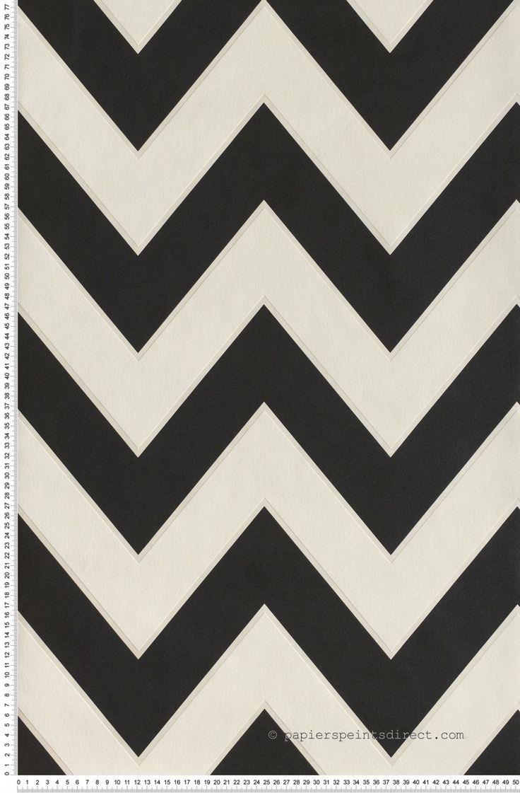 Zigzags horizontaux noirs et blancs papier peint - Papier peint graphique noir et blanc ...