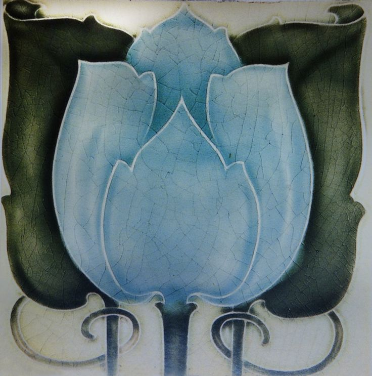 Dust pressed Art Nouveau tile by Minton, Hollins & Co, Stoke-on-Trent, around 1905.