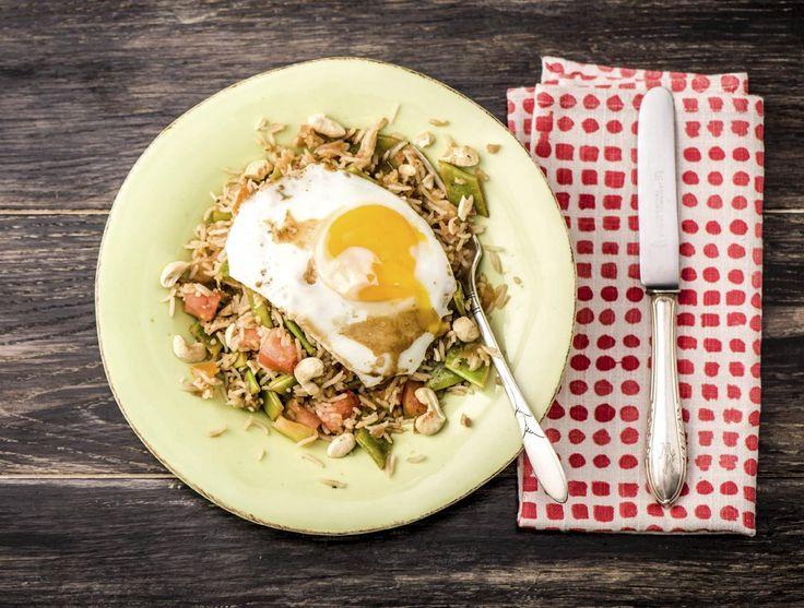 Thaise rijst met groene curry en snijbonen