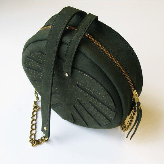 Green Leather bag Monstera Leaf bag Forest green от LaLisette