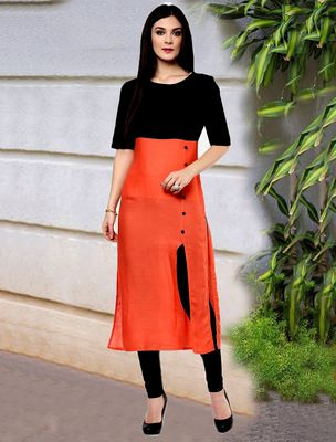 Thankar Orange & Black Designer Cotton Semi Stitched Kurti Kurtas and Kurtis For Women