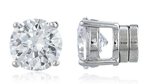 Never Pay More Again Shopping with Ultimate Collection NYC! Silvertone Magnetic Earrings with Clear Round Cubic Zirconia Magnetic Earrings Magnetic Studs in all sizes from 4mm to 12mm. New & Improved