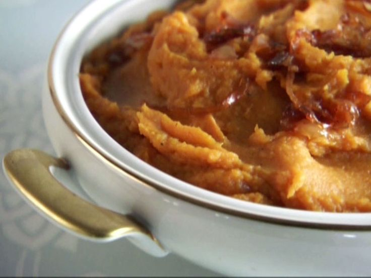 Maple Sweet Potato Puree with Caramelized Onions recipe from Claire Robinson via Food Network