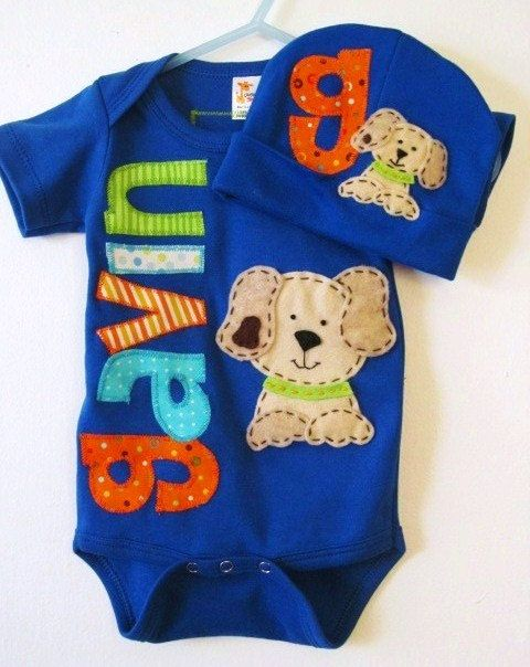 Very cute.  Baby boy bodysuit set, coming home baby outfit, monogram onesie with beanie.. $31.00, via Etsy.