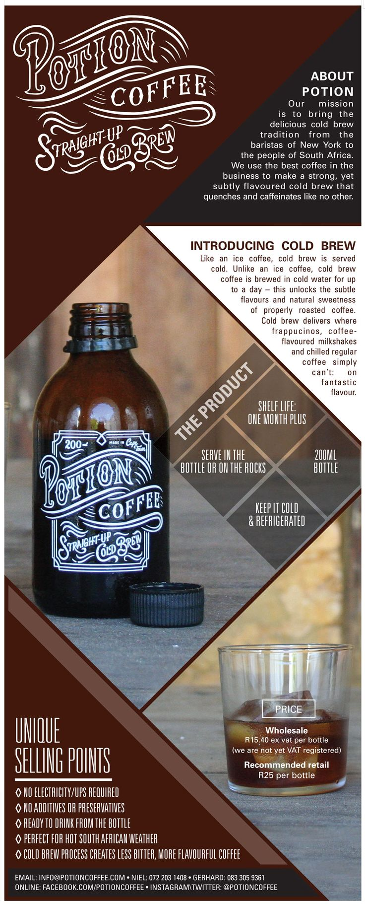 Potion Coffee Cold Brew Product Sheet Layout Design by Maya Liepaz