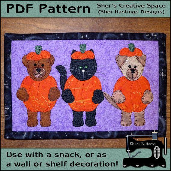 Pdf Pattern For Halloween Mug Rug Halloween Cuties Mug