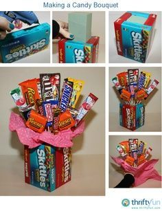 vase made of movie box candy, sharpen dowel rods with pencial sharpener, and insert into floral foam. Glue small candies to dowel