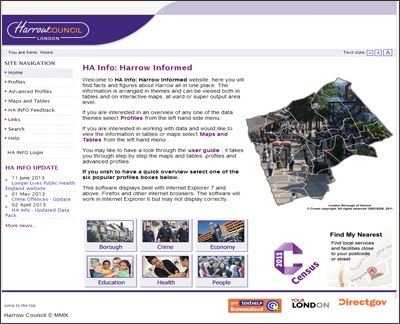 'Harrow Informed, a local information system that is helping more people access intelligence about health, crime and economic activity'  http://www.instantatlas.com/harrow-informed.xhtml