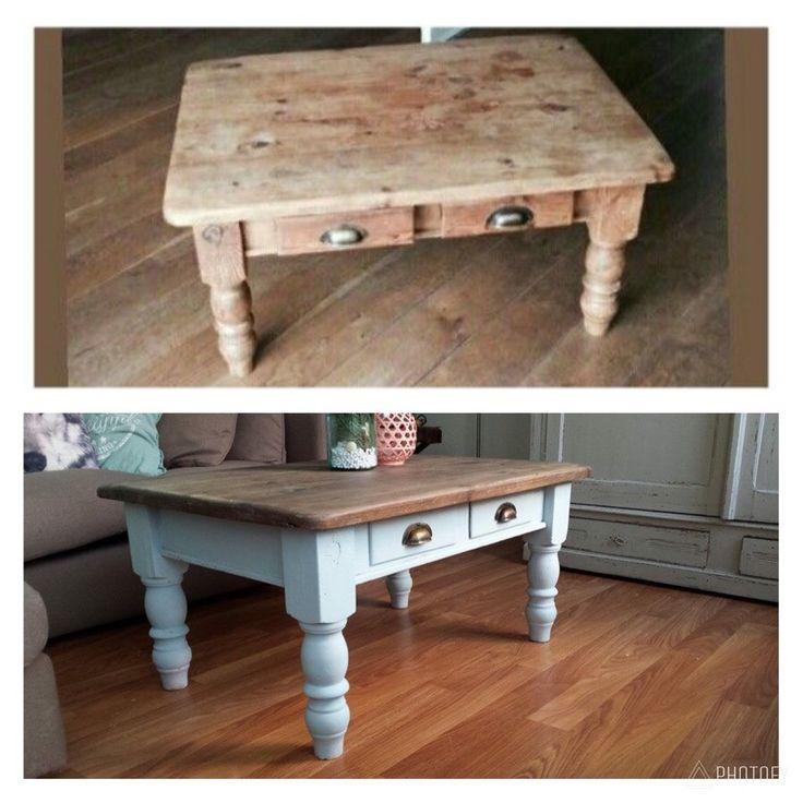 Leuke antieke salontafel in een modern jasje. Erg tevreden met het resultaat.