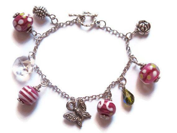 Hot Pink Lampwork Bracelet Fuchsia Beaded by GlassHouseLampwork