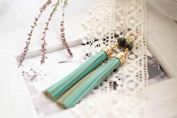 Turquoise Long Leather Zoisite Earrings Long by kskalozubova