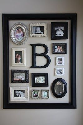 Cute way to highlight favorite children's pictures in your home with a large frame gathering them all up with each one's initials.  I would spray all the smaller frames the same color, however, or maybe various shades of the same color.