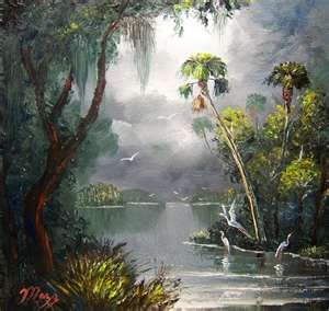 Old Florida River by Mazz Oil Paintings.