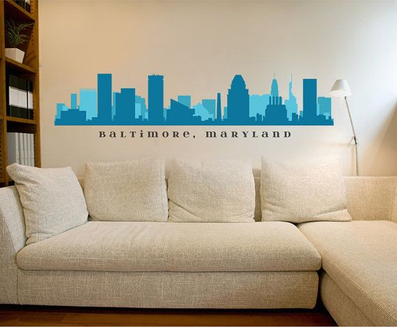 Pvc Wall Design For Office : Skyline baltimore maryland cityscape wall decal removable