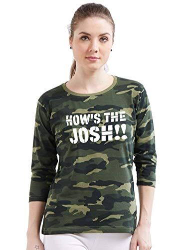 7049b6d7e4bb4a Wear Your Opinion WYO Women s Army Military Camouflage Printed 3 4th  Sleeeve Top T-Shirt (How s The Josh)  Amazon.in  Clothing   Accessories   joshtshirts ...