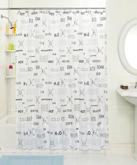 Hot & Cold Shower Curtain & Hook Set