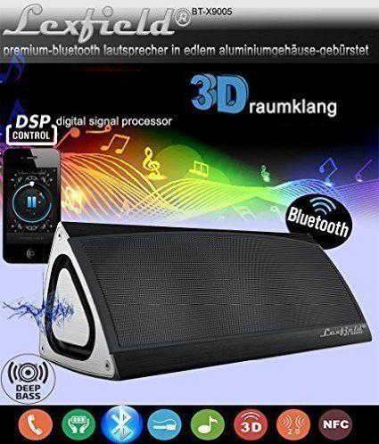 Bluetooth CSR4.0 Lautsprecher Triangle 3D Sound Ultra Bass + DSP Subwoofer Funklautsprecher Sehr EDEL Drei-Vektor-ALU-Gehäuse + Digital Signalprozessor, Stereo 3D Breitband Surround Box /alu-gebürstet + eingebaute 7,4 Volt, 2200 mAh Hochleistungs-Lithium-Ionen-Akku, Funk bis zu 10 Stunden Spielzeit (Schwarz)