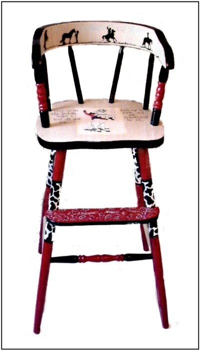Cowboy Youth Chair Front Painted Furniture Art Funky