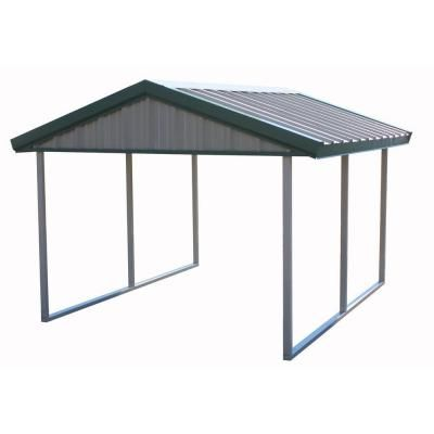 PWS, Premium Canopy 10 ft. x 12 ft. Light Stone and Patina Green All Steel Carport Structure with Durable Galvanized Frame, S-1012-PG at The Home Depot - Tablet