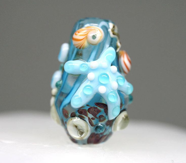 Blue Starfish pendant bead Marine Life jewelry Blue glass Lampwork focal Murano glass handmade bead Artisan SRA by MayaHoney by MayaHoneyLampwork on Etsy
