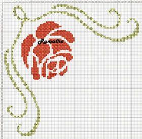 Free Cross Stitch Chart - Flower and Border
