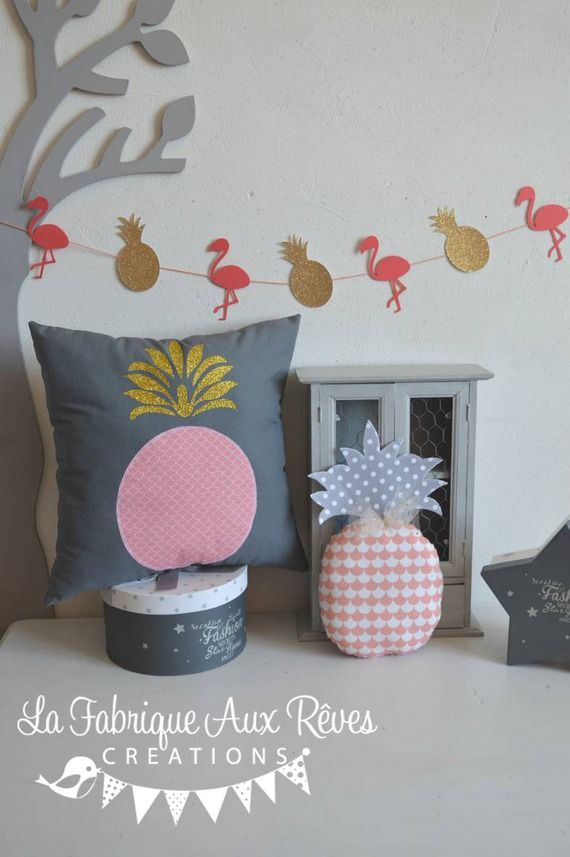 Deco flamant rose et ananas for Ananas deco maison