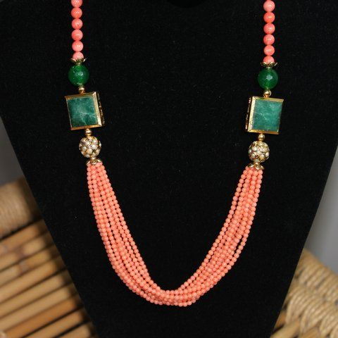 Peach corals neck piece buy online from #craftshopsindia