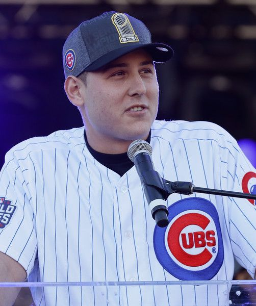 Anthony Rizzo of the Chicago Cubs speaks to the crowd during the Chicago Cubs victory celebration in Grant Park on November 4, 2016 in Chicago, Illinois. The Cubs won their first World Series championship in 108 years after defeating the Cleveland Indians 8-7 in Game 7.