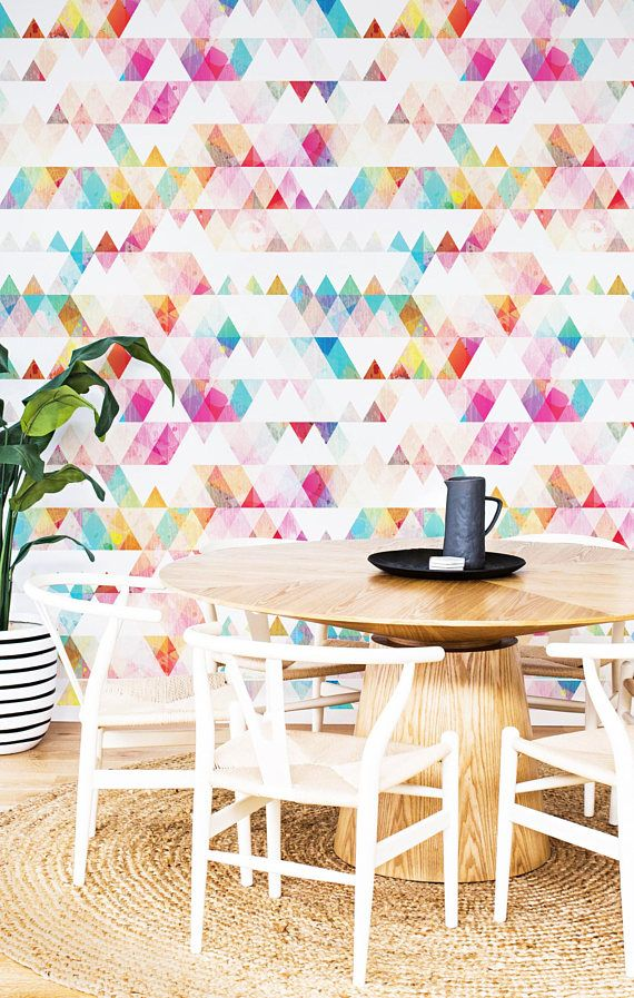 Rainbow Triangle Removable Wallpaper Repositionable Peel And Stick Self Adhesive Geometry Mural Removable Wallpaper Wallpaper Peel And Stick Wallpaper