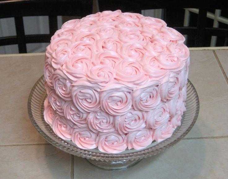 Shabby Chic Baby Shower Pink Rose Cake 3