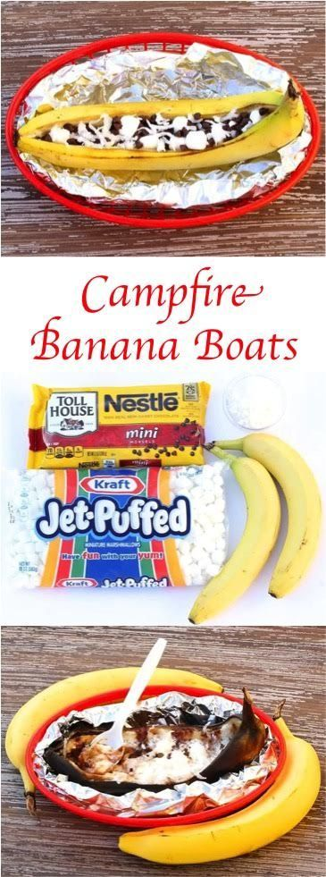 Campfire Banana Boat Recipe - the perfect summer dessert!  Easy and SO delicious!!