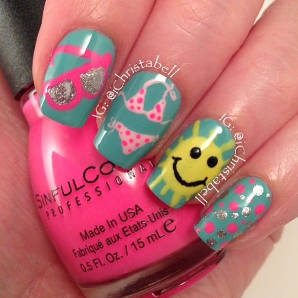 Beach Nails...cute VACATION NAIL ART by christabell nails #summer