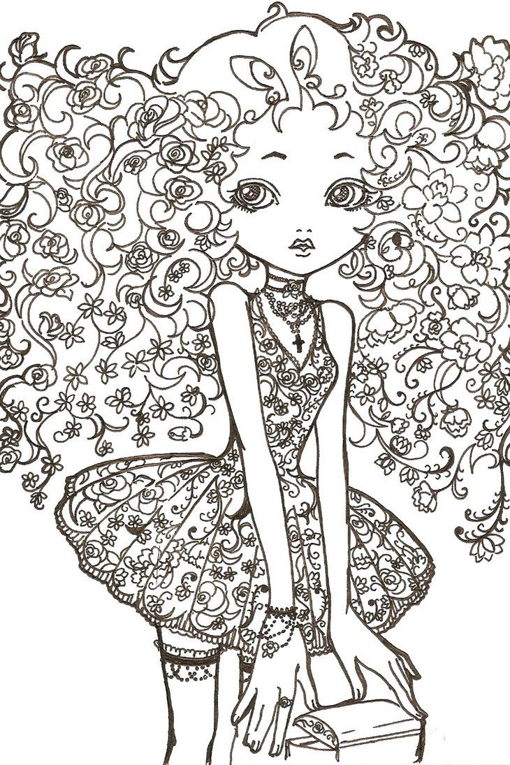 64 best Flower Hair images on Pinterest | Coloring books, Vintage ...