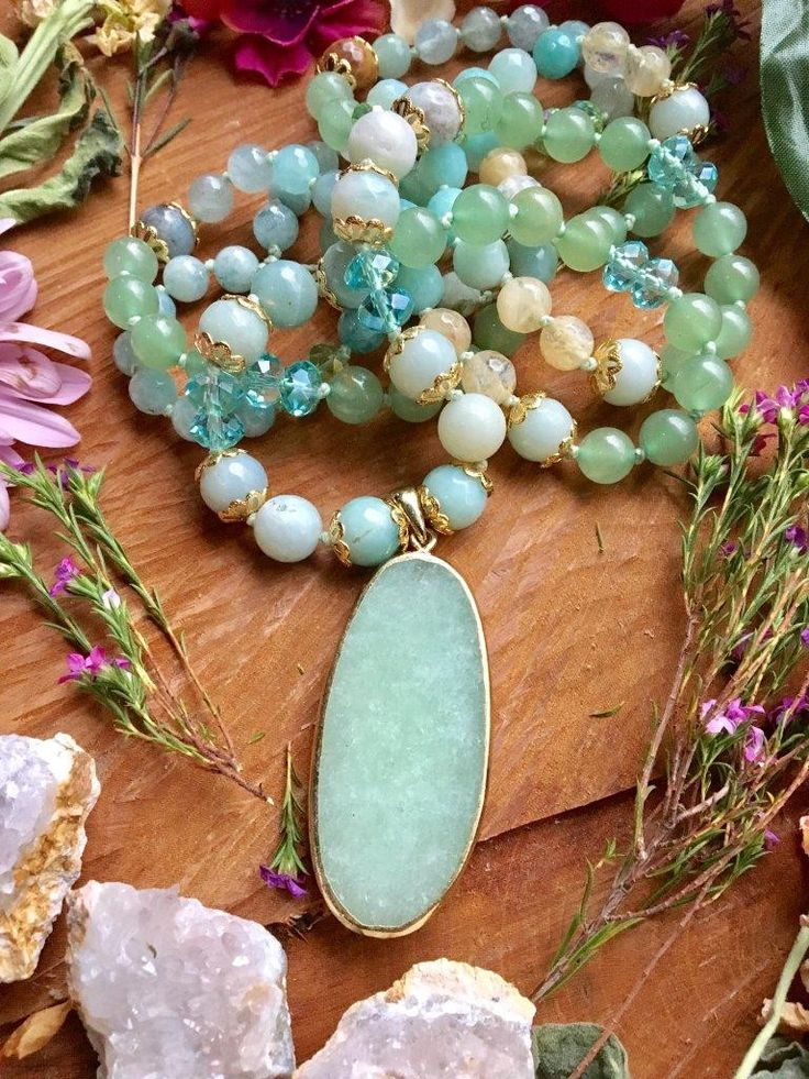 The Courageous Heart Mala...Featuring Green Aventurine, Amazonite, and Aquamarine