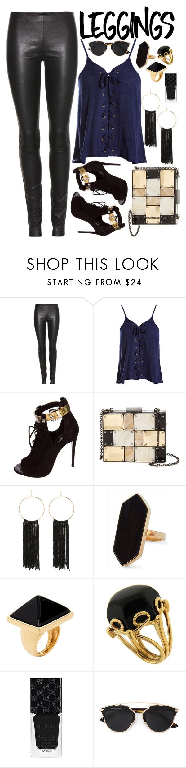 """""""Leggings👖"""" by chey-love ❤ liked on Polyvore featuring The Row, Sans Souci, Giuseppe Zanotti, Sondra Roberts, Bebe, Jaeger, Kenneth Jay Lane, Valentin Magro, Gucci and Christian Dior"""