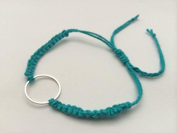 Macrame bracelet with silver circle charm by BillyandElizabeth, $5.00