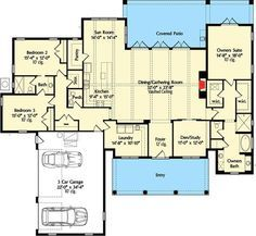 High-End Southern House Plan - 42837MJ floor plan - Main Level
