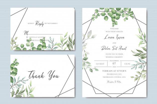 Greenery Wedding Invitation Card Set With Watercolor Leaves Elegant Wedding Invitation Card Wedding Invitation Cards Elegant Wedding Invitations