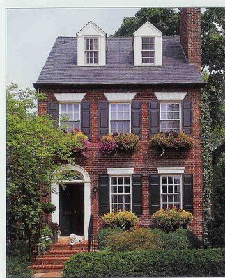 Curb appeal a collection of ideas to try about home decor porches front porches and black - Red brick house black shutters ...