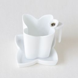 White Porcelain Flower Design Tea Strainer with Saucer