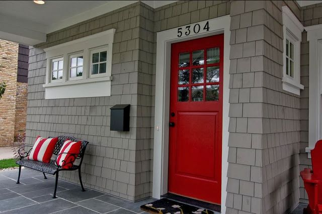 red door and this gray siding style outdoors pinterest red doors gray siding and doors. Black Bedroom Furniture Sets. Home Design Ideas
