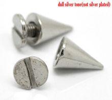 """50 Sets plata del tono del cono bala del punto del remache espárragos focos 10 mm x 7 mm ( 3/8 """" x2 / 8 """" ) 7 mm x 6 mm ( 2/8 """" x2 / 8 """" ) ( B19366 ) 8 estaciones(China (Mainland))"""