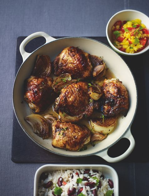 Baked jerk chicken with pineapple salsa, coconut rice and beans