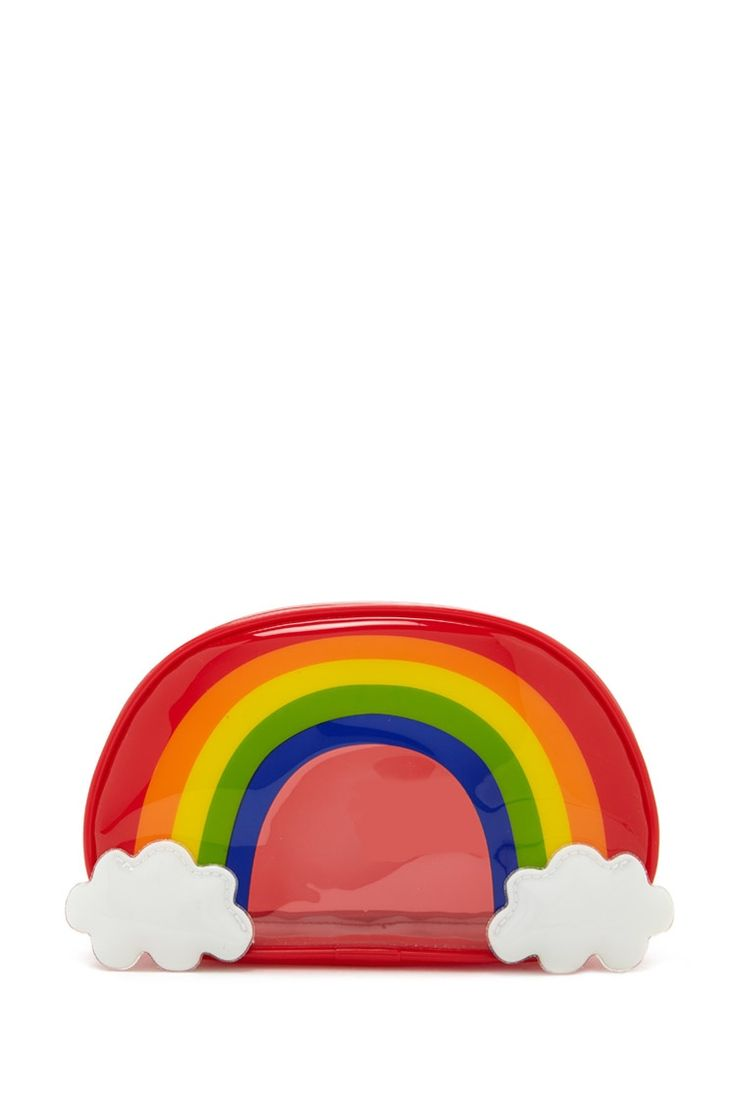 A partially clear makeup bag featuring a rainbow design and zip-up top | F21 | $7.90