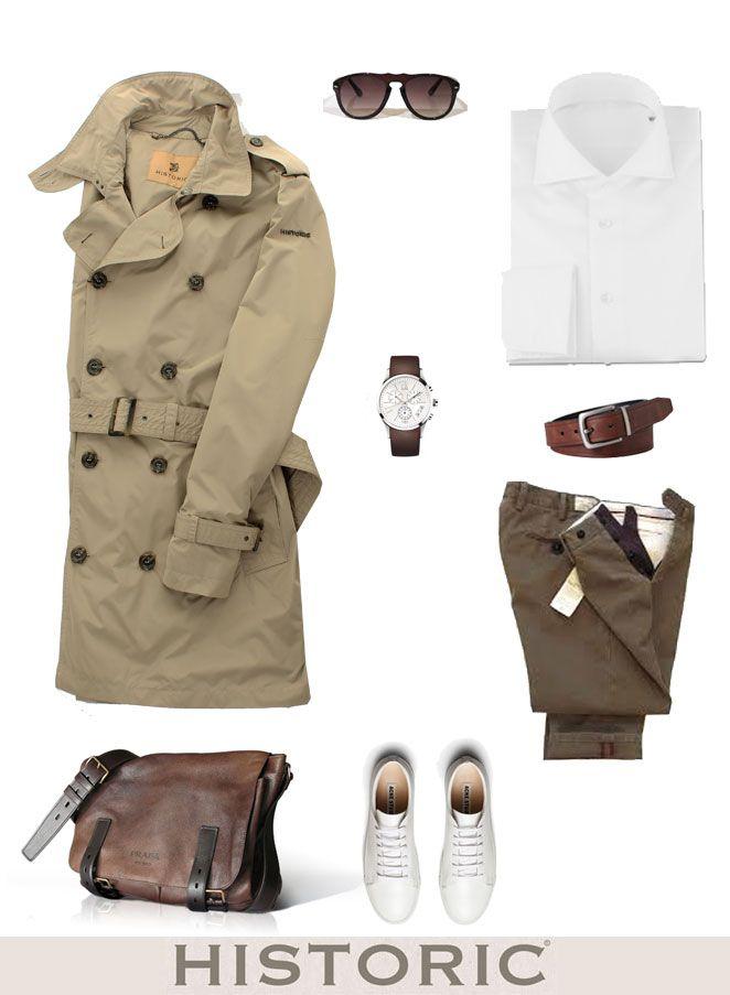 ll trench è un capo must have che non passa mai di moda e non può mancare nel guardaroba maschile. Il Tour Parka da uomo è perfetto per il tempo libero, da giorno, per l'ufficio, ma anche per look da sera! http://historic-brand.com/shop/3-historic-milano/tour-parka/ #historic #trench-coat #ss15 #manfashion #outfitman