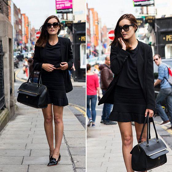 Anouska Proetta Brandon - United Colors Of Benetton Blazer, Mango Skirt, Topshop Top, Céline Sunglasses - All in black.