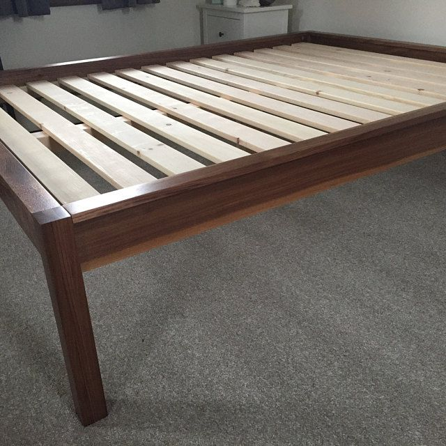 Low Profile Platform Bed In Cherry Simple Bed Frame Solid Hardwood Bed Twin Full Queen King Available With Headboard In 2020 Simple Bed Frame Simple Bed